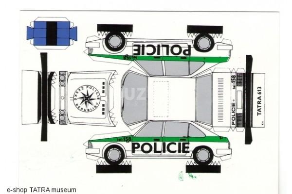 Pohlednice vystřihovánka T 613 policie