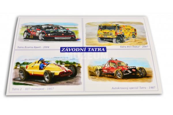 Pohlednice závodní vozy Tatra