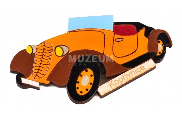 Magnetka dřevěná - oranžové cabrio T57a