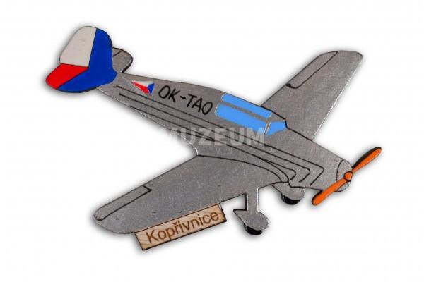 Dřevěná magnetka letadlo