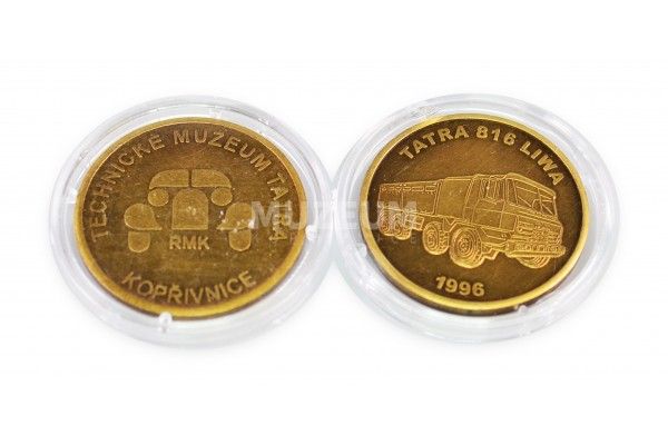 Mince staromosaz, motiv Tatra Liwa, rubová strana s logem muzea