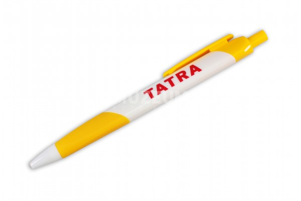 Propiska se žlutým nápisem Tatra