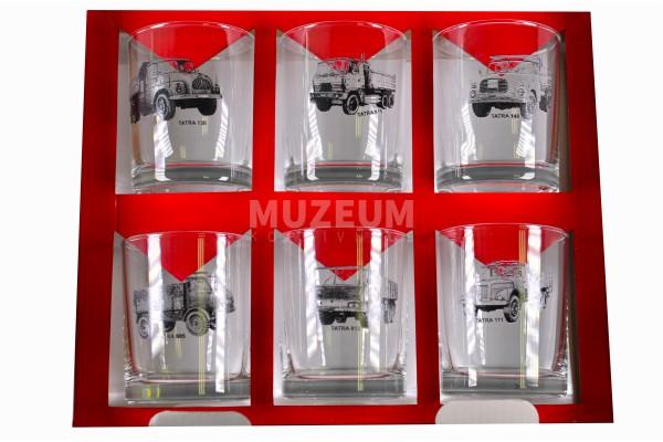 Sada sklenic nákladních automobilů Tatra, obsahuje 6 ks whiskových sklenic