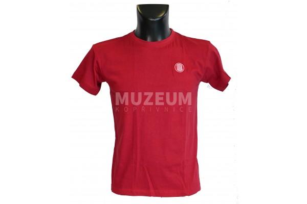 Pánské triko logo výšivka vínové barvy - bavlna