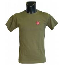 Pánské triko logo výšivka khaki - bavlna