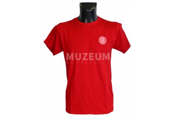 Pánské triko logo + nápis na zádech - tmavě červené