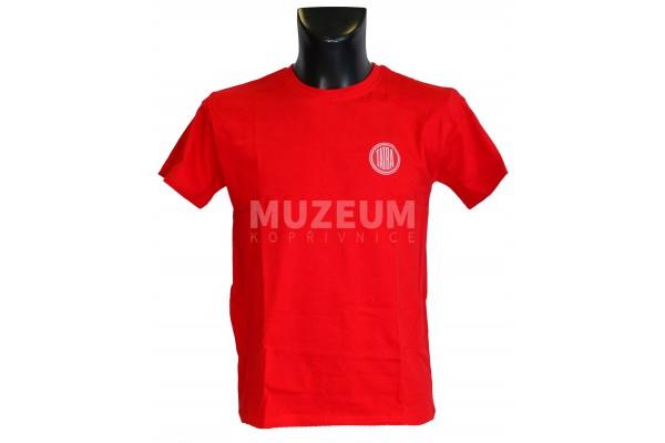 Pánské triko logo + nápis na zádech - červené