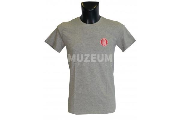 Pánské triko logo + nápis na zádech - světle šedé