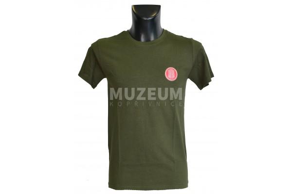 Pánské triko logo + nápis na zádech - khaki