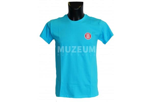 Pánské triko logo + nápis na zádech - tyrkysové