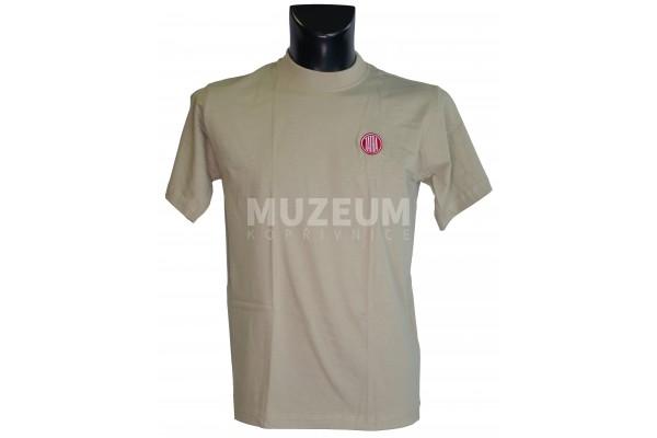Pánské triko logo výšivka béžové barvy - bavlna