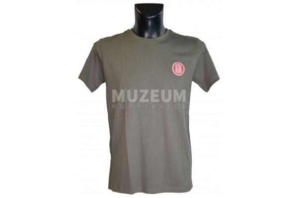 Pánské triko logo + nápis na zádech - tmavě šedé