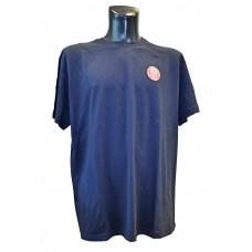 Pánské triko logo + nápis na zádech - temně modrá